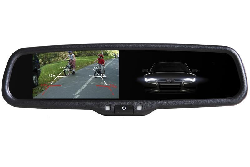 Monitor ve zpětném stmívacím zrcátku Audi, VW, Škoda, Renault, Peugeot, Citroen AK-043LAD