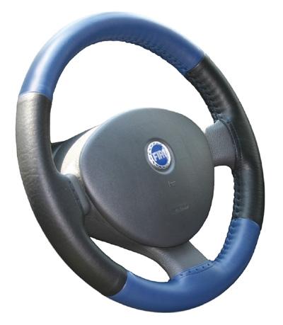 Kožený potah volantu Maria Cavallo černo/modrý ( 37-39 cm)