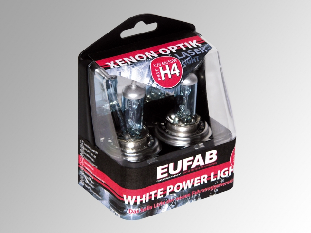 Autožárovky EUFAB H4, White Power Light - 2ks