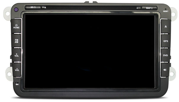 """Autorádio pro VW, Škoda s 8"""" LCD, Android 4.4.4, WI-FI, BT, DVD, červené podsvícení"""