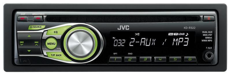 JVC autorádio s CD, MP3, zelené podsvícení, připojení pro Bluetooth adaptér