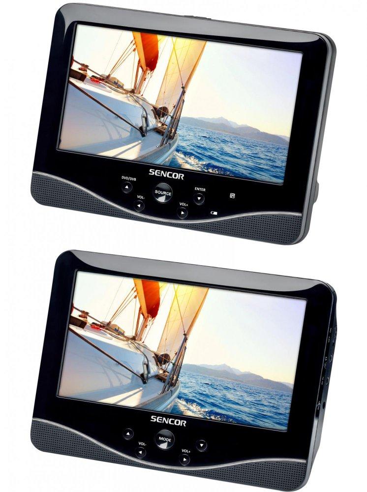 """DVD přenosný přehrávač 2x 7"""" LCD displej + DVB-T"""