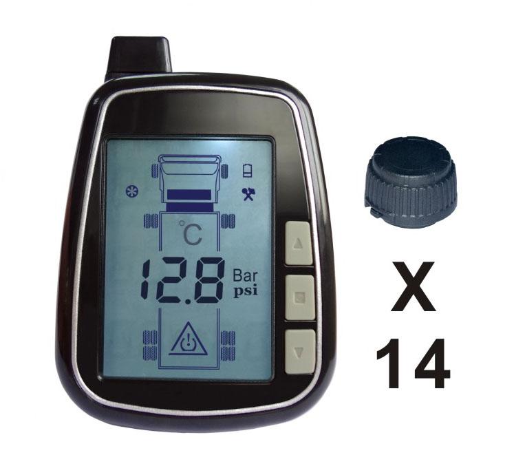 TPMS kontrola tlaku v pneumatice 14 externích čidel