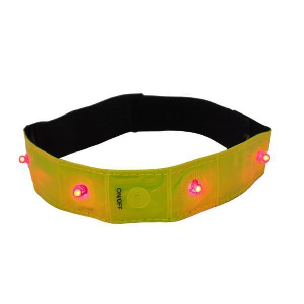 Reflexní pásek žlutý 4 LED elastický
