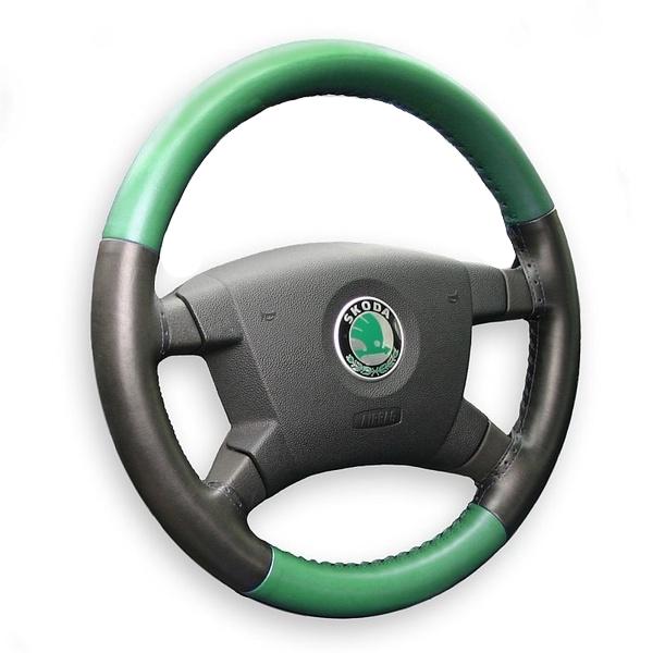 Kožený potah volantu Maria Cavallo zeleno/černý ( 37-39 cm)