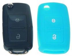 Silikonový obal pro klíč Škoda, VW, Seat 2-tlačítkový, modrý