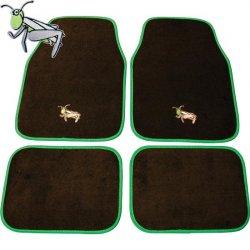 Autokoberce textilní 4 díly Kobylky / Grasshopper - černá / zelená