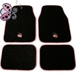 Autokoberce textilní 4 díly Berušky / Lady Bug - černá / růžová