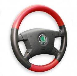 Kožený potah volantu Maria Cavallo černo/červený ( 37-39 cm)