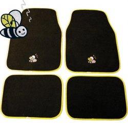 Autokoberce textilní 4 díly Včelky / Bee - černá / žlutá