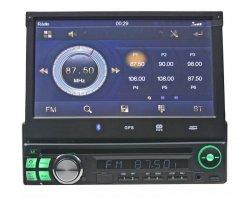 """1DIN DVD autorádio s výsuvným 7"""" LCD, bluetooth,multicolor, SD/USB/FM/DUAL-GPS/RDS/ČESKÉ M"""
