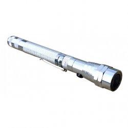 Teleskopická svítilna s magnetem - stříbrná