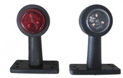 Poziční LED (tykadlo) gumové - červeno/bílé, 12-24V, ECE