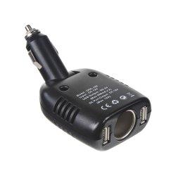 CL adaptér 12V/10A 2xUSB + CL zásuvka